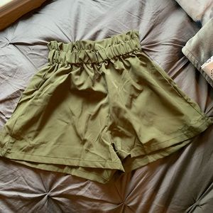 Army green flowy shorts (size S)